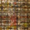 Parvez Taj Parrots Squared-Wall Art on Natural Pine Wood