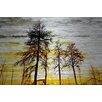 """Parvez Taj Landscape & Nature """"Trees Against Gold Sky"""" Painting Print"""