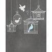 Secretly Designed Birdcages Graphic Art Paper Print