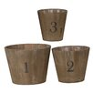 3 Piece Thornton Flower Wood Pot Planter Set - A&B Home Planters