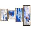 DwellStudio 4 Piece Ikat Mondrian Framed Graphic Art in Blue
