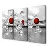 Menaul Fine Art 'Crimson Spheres Triptpych' by Scott J. Menaul 3 Piece Graphic Art on Wrapped Canvas Set