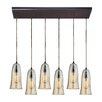 Elk Lighting Hammered Glass 6 Light Kitchen Island Pendant