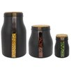 French Home Vertical 3 Piece Black Window Jar Set