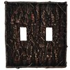 HiEnd Accents Pine Bark Double Switch Plate (Set of 4)