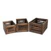 Screen Gems 3 Piece Wooden Box Set with Metal Corner (Set of 4)