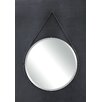 Creative Co-Op Terrain Round Metal Mirror with Leather Strap