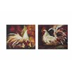 Creative Co-Op Gallery Rooster 2 Piece Graphic Art on Canvas Plaque Set (Set of 2)
