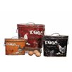 Creative Co-Op Casual Country 3 Piece Tin Boxes with Rooster and Eggs Painting