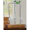 Creative Co-Op Secret Garden Wood Base with 3 Hanging Glass Vases