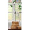 Creative Co-Op Secret Garden Wood Base with 3 Hanging Glass Vase/Rooter