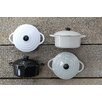 Creative Co-Op 4 Piece Stoneware Mini Baker with Lid Set