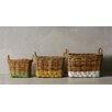 Creative Co-Op Waterside 3 Piece Arurog Paint Dipped Basket Set