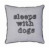 """Creative Co-Op Sayings """"Sleeps With Dogs"""" Linen Throw Pillow"""