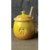 Creative Co-Op Casual Country Stoneware Honey Pot with Wood Honey Dipper