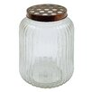 Creative Co-Op Casual Country Round Glass Jar with Metal Flower Lid