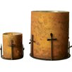 Creative Co-Op Sonoma Glass and Metal with Cross Votive
