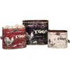 Creative Co-Op 3 Piece Tin Buckets with Rooster and Eggs Set