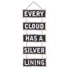 Creative Co-Op Sayings Every Cloud Has A Silver Lining Hanging Sign Wall Décor