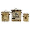 Creative Co-Op Honey Grey 3 Piece Decorative Bee Skep Box Set