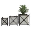 Creative Co-Op Turn of the Century 3 Piece Metal Flower Box with Stand Set