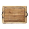 Creative Co-Op Smudge Decorative Wood Tray with Metal Chain Handle