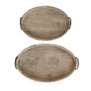 Creative Co-Op Honey 2 Piece Decorative Wood Tray with Metal Handle Set