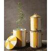 Creative Co-Op Garden 3 Piece Metal Hand-Painted Barrels Set