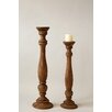 Creative Co-Op Palm and Fauna Wood Candlestick
