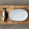 Creative Co-Op Embossed Stoneware Irregular Shape Plate with Fish