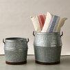 Creative Co-Op Grange 2 Piece Corrugated Metal Bucket Set