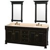 "Wyndham Collection Andover 80"" Double Bathroom Vanity Set with Mirror"