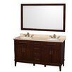 "Wyndham Collection Hatton 60"" Double Bathroom Vanity Set with Mirror"