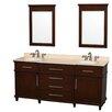 "Wyndham Collection Berkeley 72"" Double Bathroom Vanity Set with Mirror"