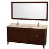 "Wyndham Collection Hatton 72"" Double Bathroom Vanity Set with Mirror"