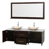 """Wyndham Collection Centra 72"""" Double Bathroom Vanity Set with Mirror"""