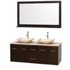 """Wyndham Collection Centra 60"""" Double Bathroom Vanity Set with Mirror"""