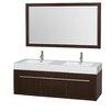 "Wyndham Collection Axa 60"" Double Bathroom Vanity Set with Mirror"