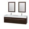 "Wyndham Collection Axa 72"" Double Bathroom Vanity Set with Mirror"