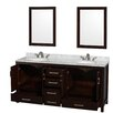 """Wyndham Collection Sheffield 72"""" Double Bathroom Vanity Set with Mirror"""