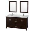 "Wyndham Collection Sheffield 60"" Double Bathroom Vanity Set with Mirror"