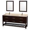 "Wyndham Collection Natalie 72"" Double Bathroom Vanity Set with Mirror"