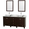 """Wyndham Collection Acclaim 72"""" Double Bathroom Vanity Set with Mirror"""