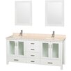 """Wyndham Collection Lucy 72"""" Double Bathroom Vanity Set with Mirrors"""