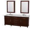 "Wyndham Collection Berkeley 80"" Double Bathroom Vanity Set with Mirror"