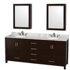 "Wyndham Collection Sheffield 80"" Double Bathroom Vanity Set with Mirrors"
