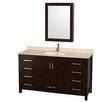 "Wyndham Collection Sheffield 60"" Single Bathroom Vanity Set with Medicine Cabinet Mirror"