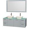 "Wyndham Collection Amare 60"" Double Bathroom Vanity Set with Mirror"