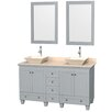 """Wyndham Collection Acclaim 60"""" Double Bathroom Vanity Set with Mirror"""
