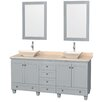 "Wyndham Collection Acclaim 72"" Double Bathroom Vanity Set with Mirror"